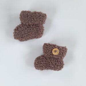 Bruine teddy baby slofje (maat 1)