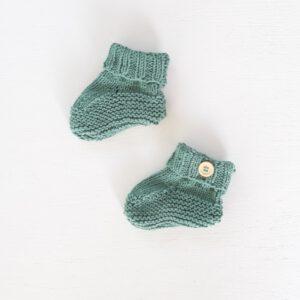 Groene katoenen baby-slofjes