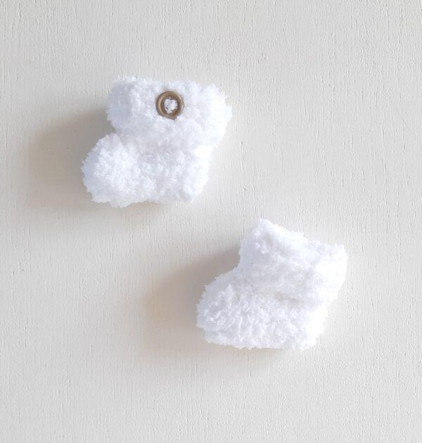 Witte teddy booties (maat 0)