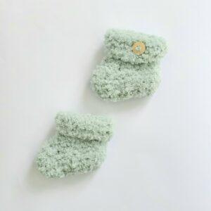 Zachtgroene baby-slofjes (maat 0)