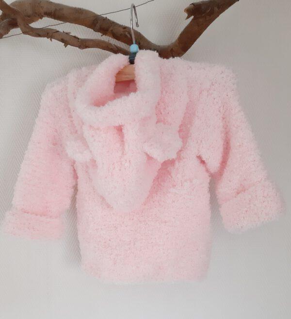 Roze teddy jasje met berenoortjes