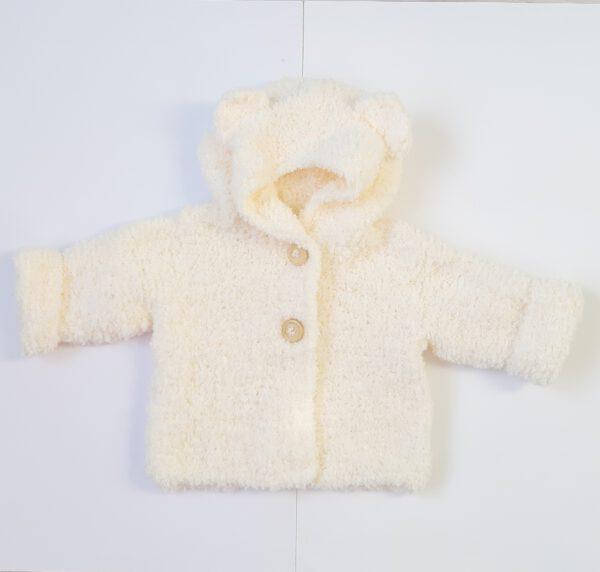 Gebroken wit teddy babyjasje met een capuchon met berenoortjes