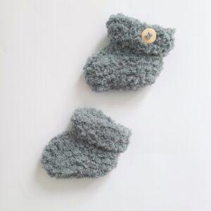 Donkergrijze baby booties