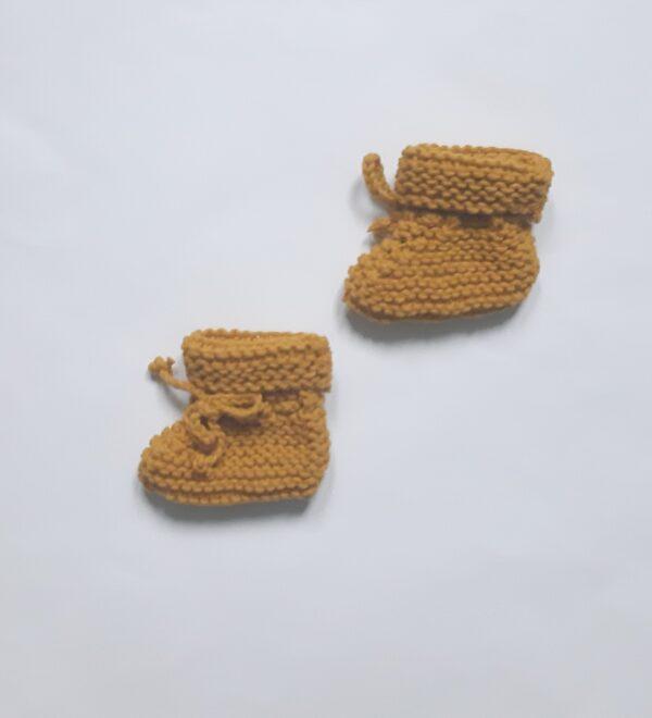 Mosterdgeel vintage baby-slofjes